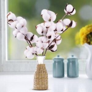 Натуральный сушеный хлопок стебли фермерский дом искусственный цветочный наполнитель Цветочный декор искусственный хлопок цветок Сделай Сам гирлянда домашний Свадебный декор
