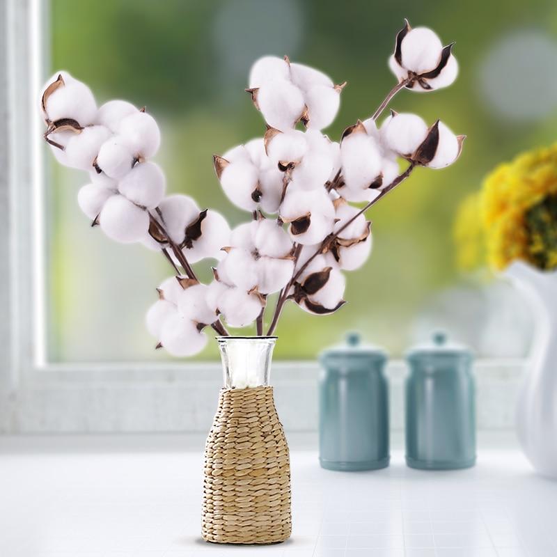 Натуральные высушенные стебли хлопка, искусственный цветок для фермерского дома, наполнитель, Цветочный декор, искусственный цветок, хлопк...
