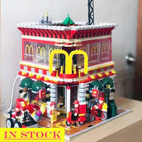IN Stock SD6901 McD Restauran MOC Street View Series 1729Pcs 4 in 1 Assembly Building Blockst House Bricks Block