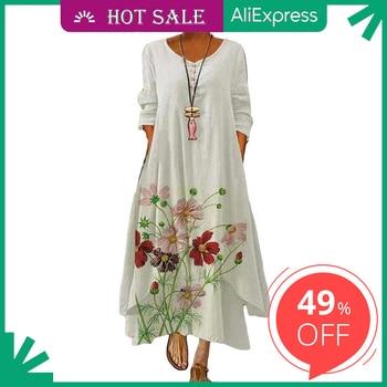 2021 Elegant Flowers Print Long Sleeve Spring Summer Dresses Casual O Neck Loose Women Dress Vintage Party Vestidos Long Dresses 1
