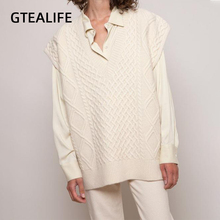 Gtealife Women Vest Simple All-match Style V-neck Knitted Sweater Leisure Student Sleeveless Female Vintage sweater waistcoat