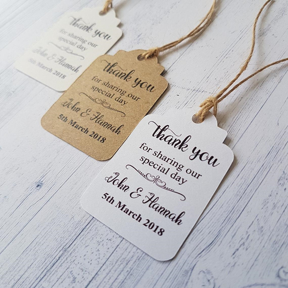 Custom Names and Date Wedding Favour tags, Thank You for Sharing Our Special Day, Ideas for Wedding Gift Tags, Wedding Souvenirs image