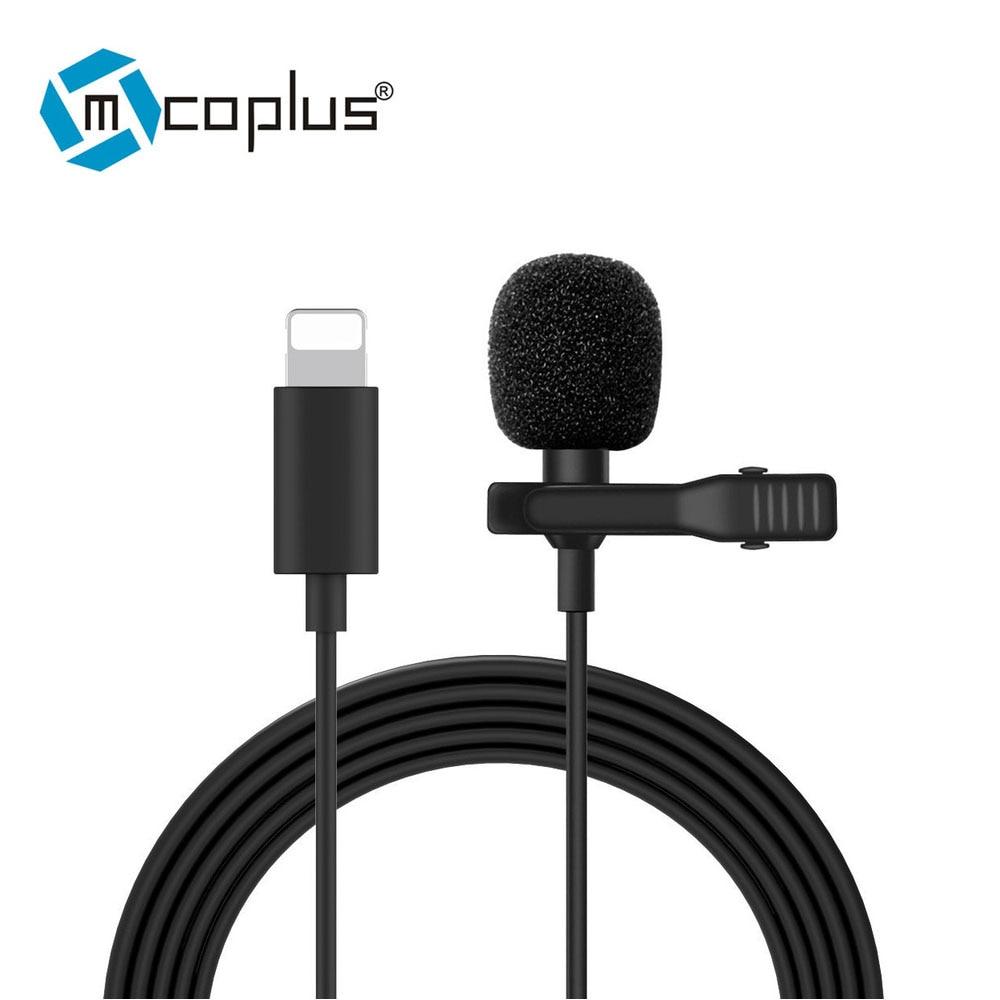 Mcoplus mini microfone relâmpago para iphone 7 8 plus x xs max 11 pro xr condensador estúdio profissional streaming de áudio ao vivo