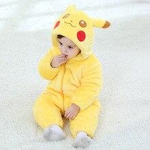 От 0 до 2 лет Детские Желтые странные кролика Детский костюм-комбинезон для новорожденных зимний Уплотнённый комбинезон с капюшоном для малышей с принтом животных; милый костюм для девочек