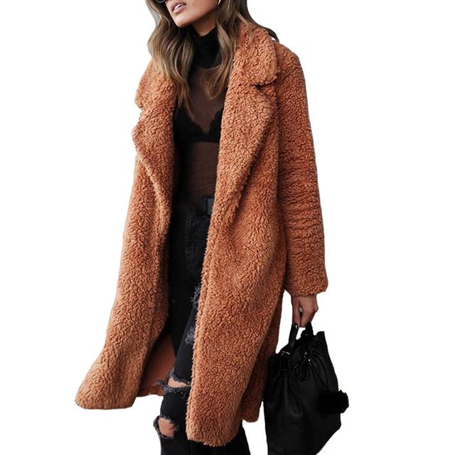 Plus Size Winter Warm Teddy Coat Women Jacket Coats Faux Fur Long Plush Jackets 2019 Female Sexy Thicken Long Sleeve Overcoats