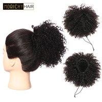 Morichy Chignon Hair Brazilian Short Ponytail Bun Clip In Afro Kinky Curly Remy 3C Human Hair Drawstring For Black Woman