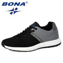 Мужские кроссовки на вулканизированной подошве BONA, серые повседневные воздухопроницаемые сетчатые кроссовки на шнуровке, Нескользящие, для тенниса, 2019