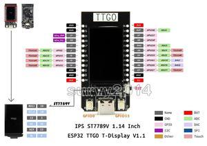 Image 1 - Placa de desenvolvimento para arduino, tela t esp32 wifi e bluetooth 1.14 Polegada placa de controle lcd