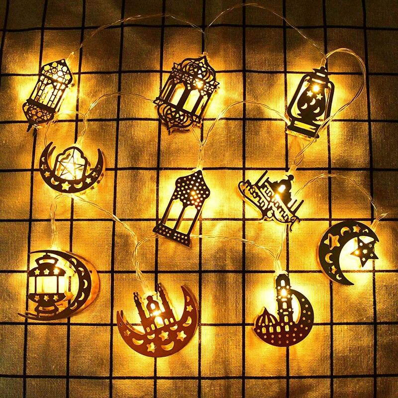 1.65M 10LED Eid moubarak Ramadan décor Led chaîne lumière étoile lune fée lumières guirlande pour Islam musulman Festival fête fournitures