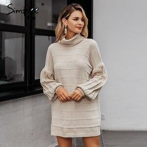 Image 3 - Simplee Turtleneck knitted women sweater dress Autumn winter casual lantern sleeve female dress Elegant soft ladies party dress