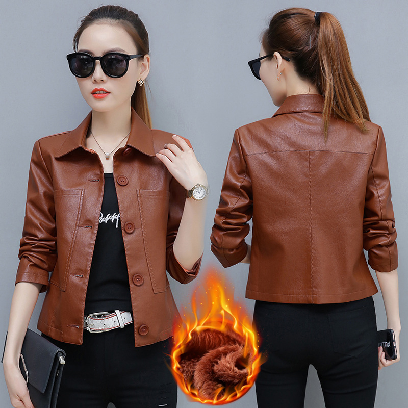 women coat 2019 autumn faux   leathers   jacket women plus size women coats Korean version Motorcycle   leather   clothing   suede   jacket