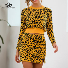 Bella philosophy Women Autumn Leopard Print Sweaters Pullovers Vintage Sexy Female Suits Lady Sets Two Pieces Bodycon Skirts(China)