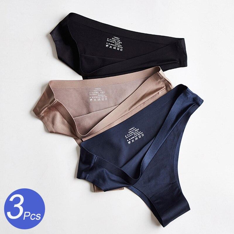 3Pcs/lot Women Panties Ice Silk G-String Underwear T-Back Seamless Woman Thong Low Rise Lady Lingerie Sexy Women Intimates Tanga