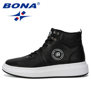 Image 4 - BONA 2019 New Designer Outdoor Sneaker Men Lace Up Casual Footwear Man Fashionable Comfortable Vulcanize Shoes Male High  Top
