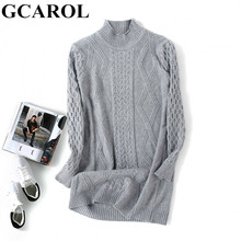 GCAROL New Fall Winter Women Turtleneck Sweater Thick Warm Twist Knitted Pullover Female Mid Length Leisure Knit Jumper(China)