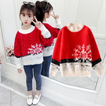 лучшая цена Autumn Winter Baby Girl Sweater Children Clothes Girl Velvet Snowflake Sweater Kids Pullovers Christmas Sweater Teenage Knitwear