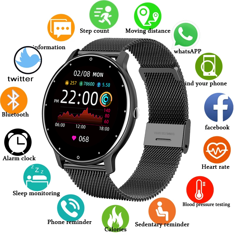 LGE 2021 New Color Screen Digital Watch Women men Full Touch Fitness Tracker Blood Pressure Clock Women Smartwatch for Xiaomi