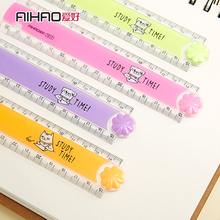 30CM New Cute Kawaii Study Time Color Folding Ruler Multifunction diy Drawing Rulers Kids Students Office School Stationery