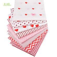 Chainho, serie geométrica roja y blanca, tela de algodón de sarga estampada, ropa de retales para costura de colchas DIY Material para bebés y niños