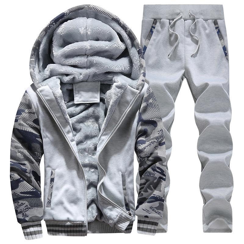 2019 Winter Velvet Thickening Sportswear Set Two-piece Hoodies + Sweatpants Sports Suit Keep Warm Fitness Zipper Tracksuit Men