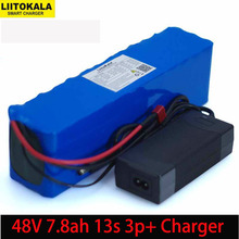 Batería de alta potencia de 48V, 7,8 Ah, 13s3p, 18650, para vehículo eléctrico, motocicleta, protección BMS + cargador de 54,6 v 2A