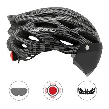 Ultralight Mountain Bike kask jeździecki odpinany osłona przeciwsłoneczna TT obiektyw kolarstwo kaski ochronne z Taillight sporty rowerowe kaski tanie i dobre opinie CAIRBULL (Dorośli) mężczyzn CN (pochodzenie) 230g 16-20 Lekki kask ALLROAD Three In One Cycling helmet PC+EPS M L(54-61cm)