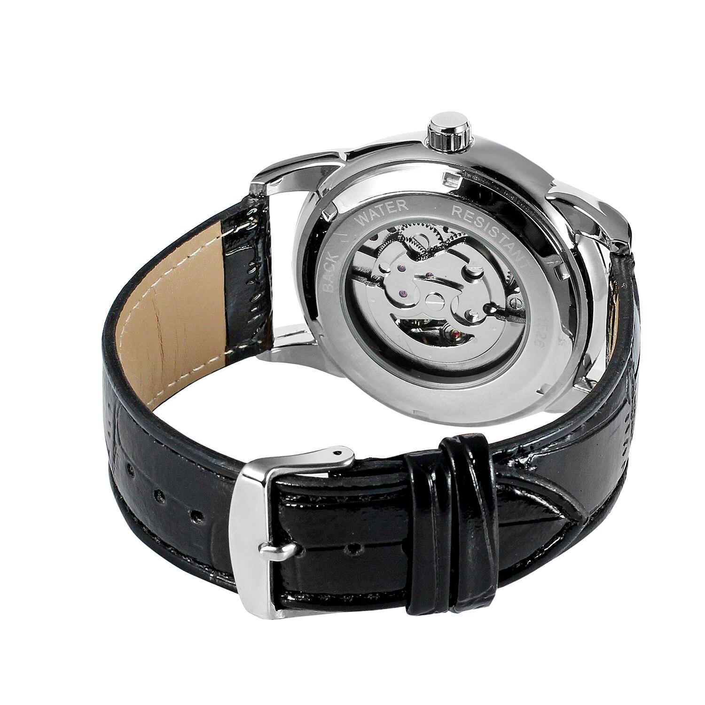 relógio masculino mostrador preto prata caso pulseira