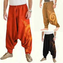 Men Baggy Harem Pants Festival Hip hop Boho Alibaba Harem Cross Pants Desert Trousers Casual Loose Pants Male Clothing cheap HONGRAYS Cross-pants COTTON Midweight Cotton pants 26 - 40 Full Length Japan Style Broadcloth PATTERN Drawstring Flat Welcome