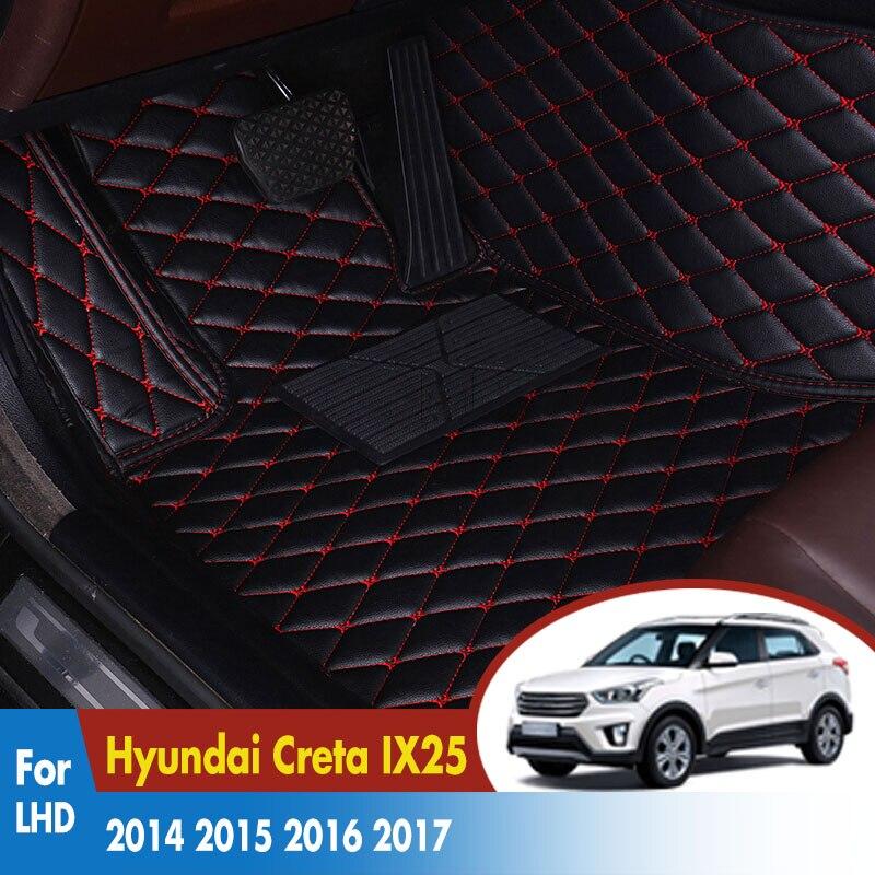 Car Floor Mats For Hyundai Creta IX25 2019 2018 2017 2016 2015 2014 Car Interior Accessories Leather Waterproof Car-styling
