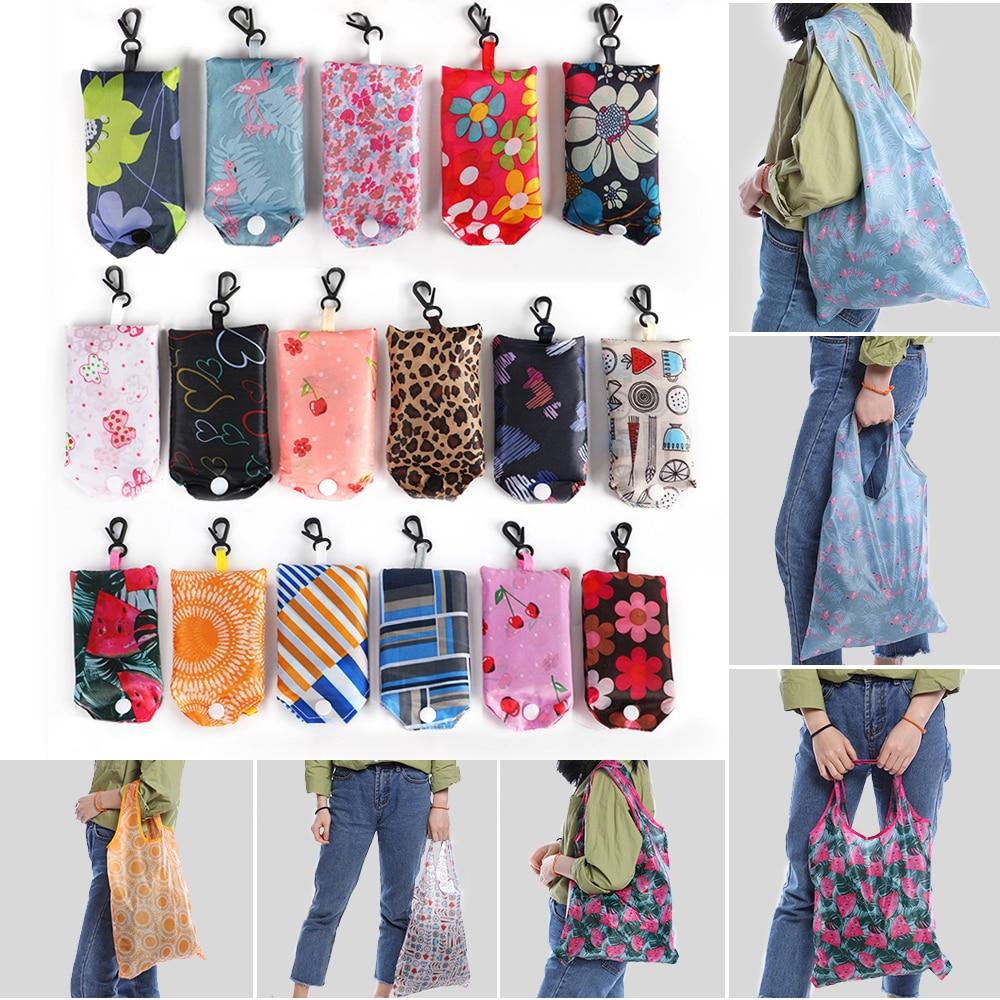 Складная сумка для покупок, Экологичная Женская Подарочная Складная многоразовая сумка-тоут, портативная дорожная сумка через плечо из цве...