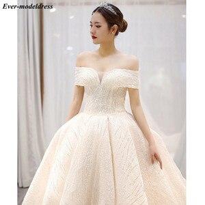 Image 4 - יוקרה שמלות כלה 2020 כבוי כתף תחרה עד אפריקאי נוצץ כדור שמלת הכלה Robe לעשות Mariee Vestido דה Noiva