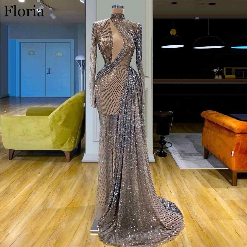 Блестящее длинное платье знаменитости 2020, вечернее Прозрачное платье русалки из Дубая, выпускное платье, бегущие модные платья для шоу