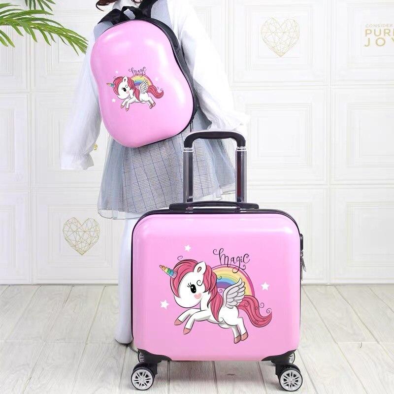 נסיעות מזוודה עם גלגלי עגלת מזוודות סט 18 ''ילדים Cartoon לשאת על מזוודת מטען תא ילדים מתנה תרמיל בנות