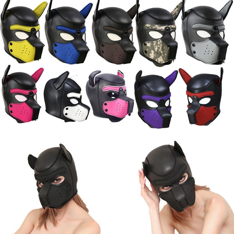 Soft-Padded-Rubber-Neoprene-Puppy-Adult-Cosplay-Role-Play-Dog-Mask-Full-Head-Ears