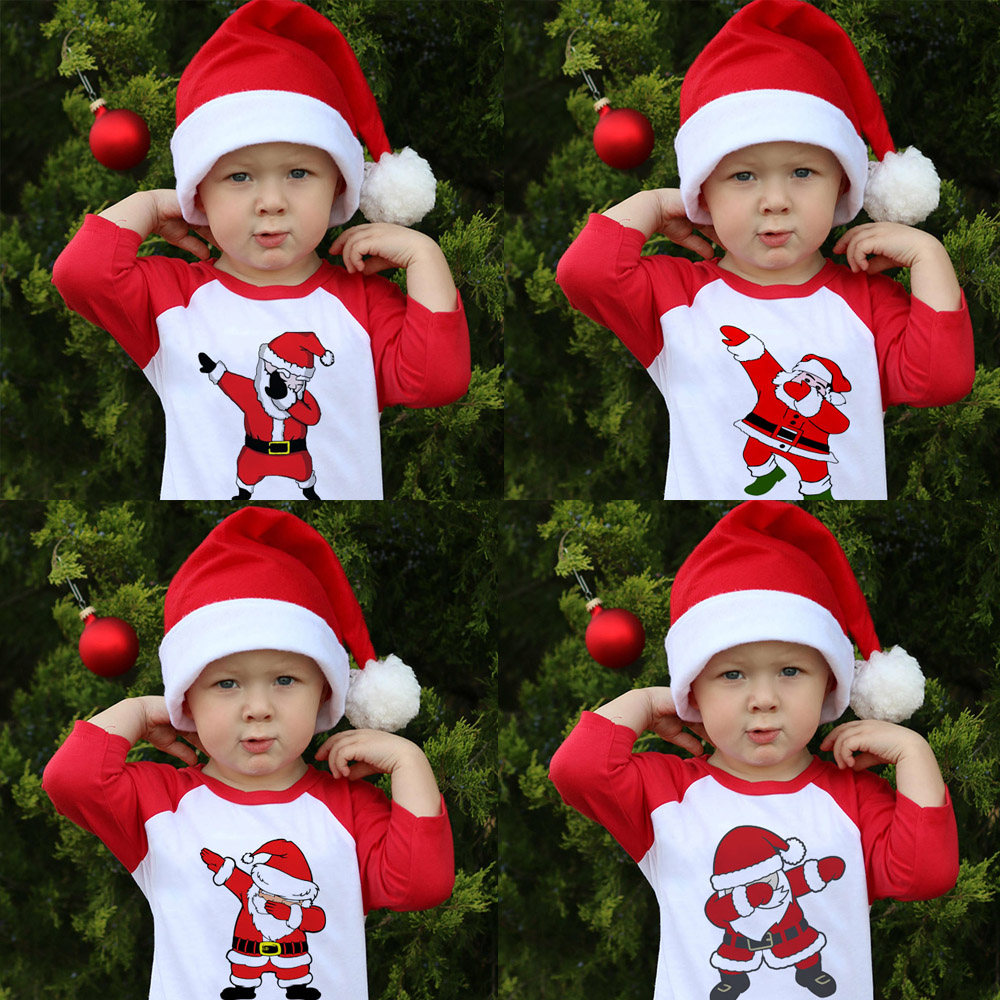 Kids Girls Boys Dabbing Christmas T-shirts Clothes Baby Santa Claus T Shirt Children Clothing Tops Tshirt T-shirt Baseball Tees 1