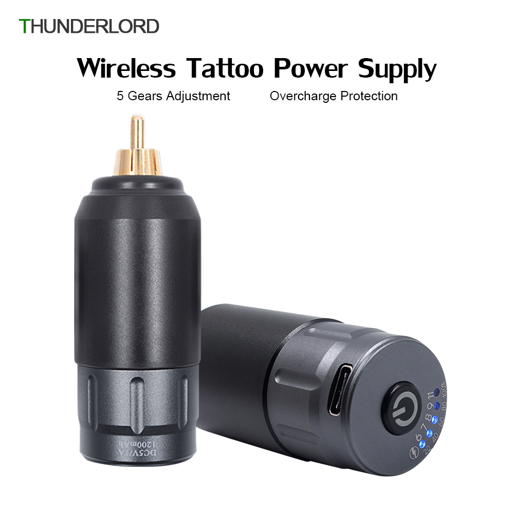 Rechargeable Wireless Tattoo Power Supply 5 Gears Adjustment RCA Tattoo Battery Power For Permanent Makeup Tattoo Pen Machine
