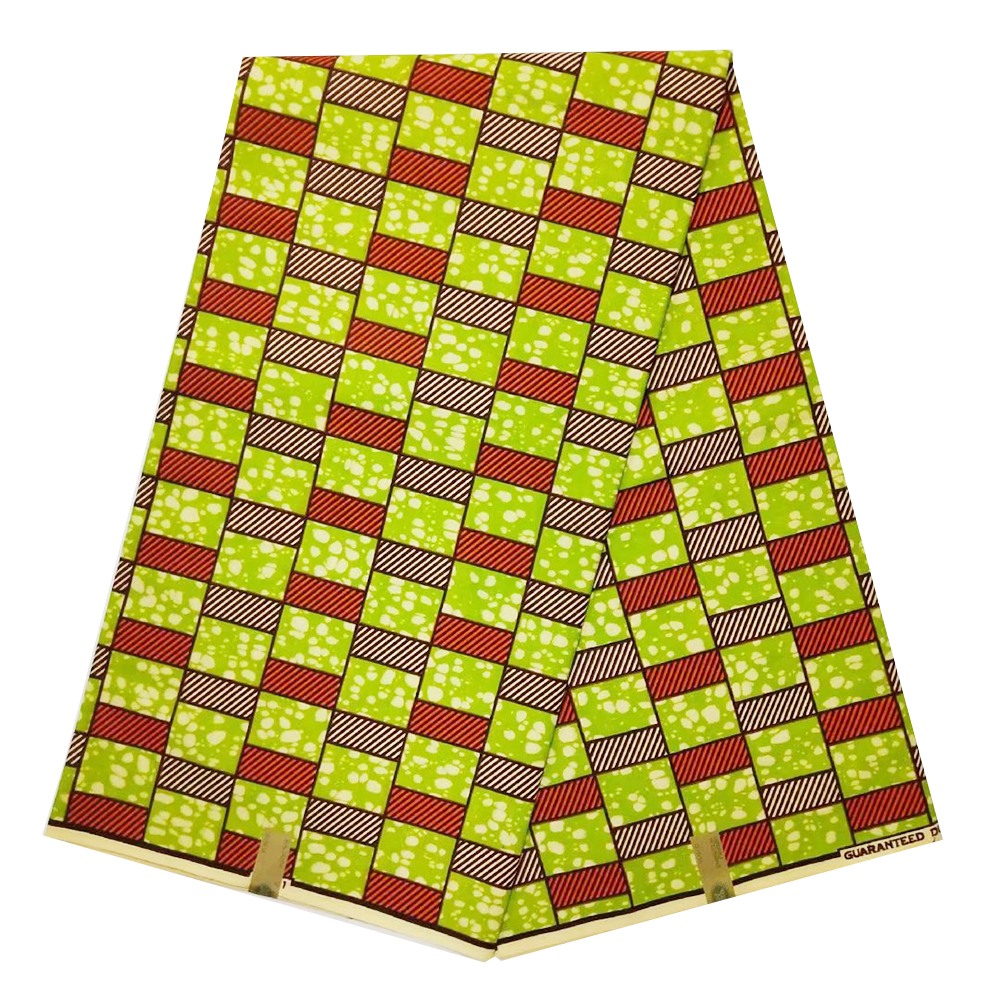 Yellow High Quality Veritable African Fabrics Dutch Veritable 100% Cotton  African Ankara Sewing Fabric Material 6yards