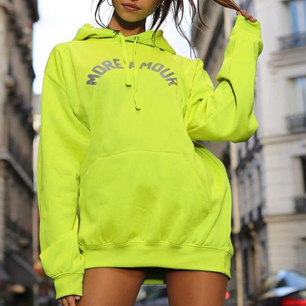 Women Letter Print Hoodies Fluorescent Color Hooded Pocket Hoodie Oversize Loose Casual Long Sleeve Tops Pullover Sweatshirt#35