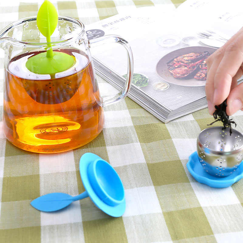 1pc Leaves Shape Silicone Strainer Tea Herbal Spice Filter Diffuser Coffee Tea Tools Items and Equipment for Water Coffee Tea