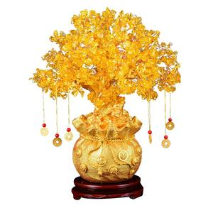 Image 2 - 19cm Lucky Tree Wealth Yellow Crystal Tree Natural Lucky Tree Money Tree Ornaments Bonsai Style Wealth Luck Feng Shui Ornaments
