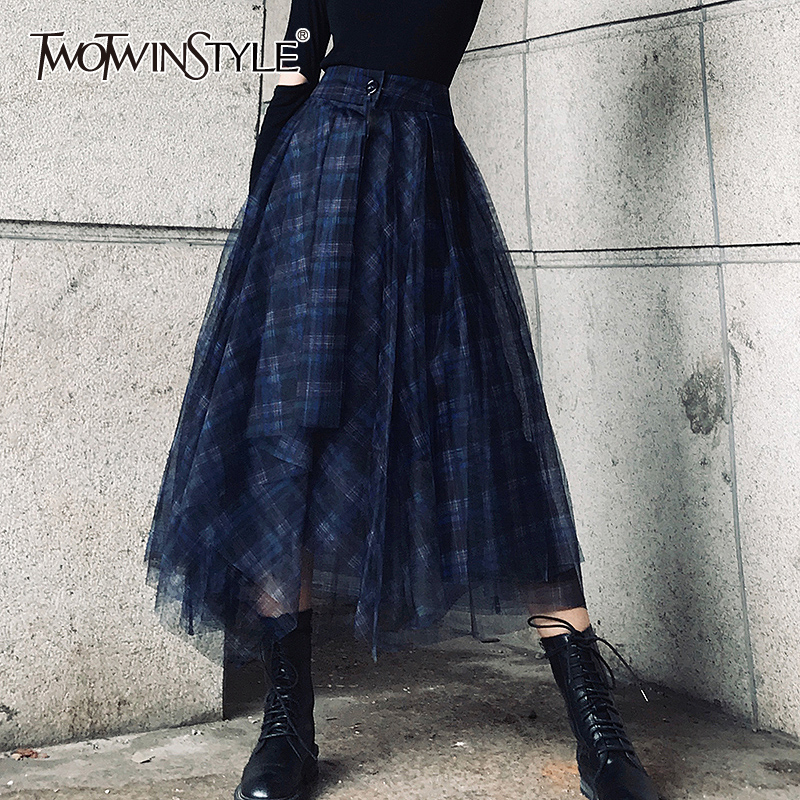 TWOTWINSTYLE Plaid Patchwork Mesh Women's Skirts High Waist Hit Color Elegant A Line Skirts Female 2020 Spring Fashion New