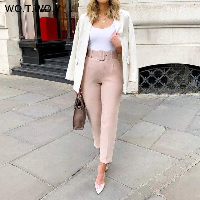 WOTWOY Elegant Formal High Waist Pants Women Skinny Office Lady Pencil Pants Women Pockets Sashes Ankle-Length Trousers Women 3