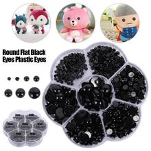 3-12mm 500pcs Round Flat Black Eyes Plastic Eyes for Dolls Making Toys for Teddy Bear Dolls Amigurumi DIY Doll Accessories aqk aqk bjd1 4 dolls castle spider sd dolls free eyes