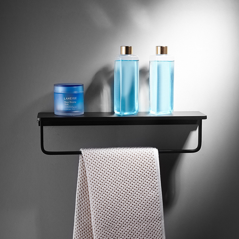 Nordic White Bathroom Shelf Wall Mount Space Aluminium Black Bathroom Shelf Square Shower Shelf Corner Storage Holder Shelves