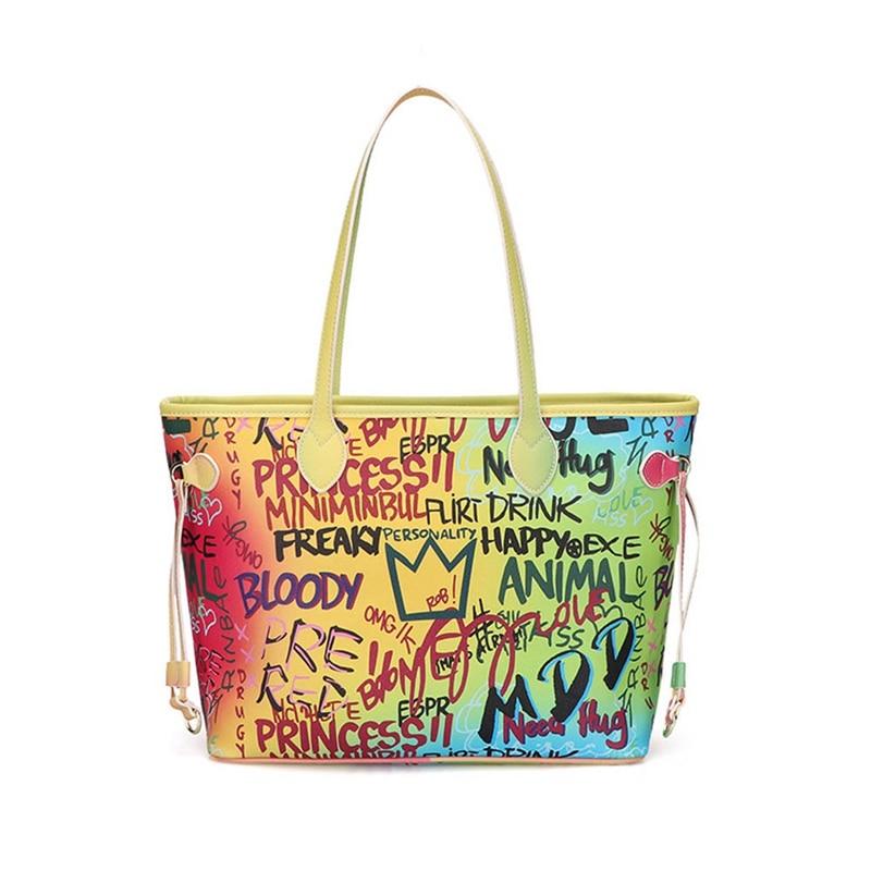 1 PC Colorful Hand-painted Graffiti Bag Women Large-capacity Tote Ladies Fashion Top-Handle Bag Handbag Dropship New Arrival