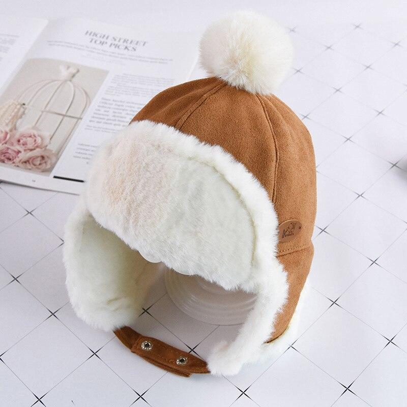 Маска для лица для мальчиков и девочек; шапка-ушанка с помпоном; милая детская зимняя бархатная утолщенная теплая ветрозащитная плюшевая шапка - Цвет: Camel