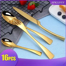 Spklifey 16 Pecs Dinnerware Set Gold top Stainless Steel Dinner Knife and Fork Cutlery 18/10
