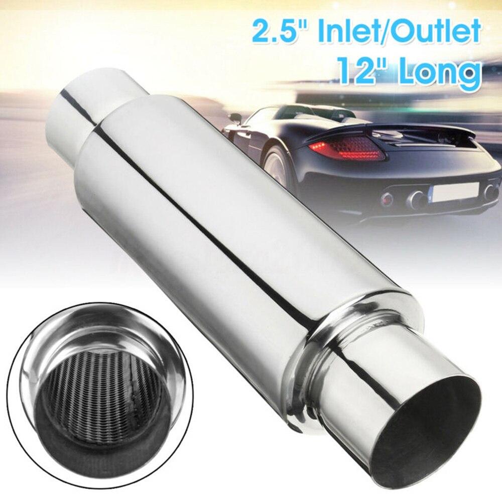 """Hot New Universal Car 2.5"""" Inlet/Outlet Stainless Steel Exhaust Turbine Muffler Resonator 12"""" Long Car Exhaust Muffler"""