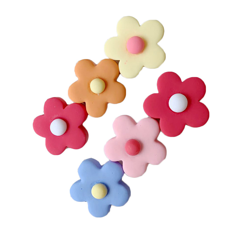 Cute Small Flower Hairpins For Girls Women Colorful Silica Gel Hair Clips Sweet Hairdress Hair Accessories Kids Hair Barrettes