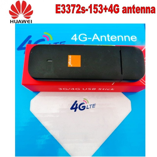 100pcs Unlocked Huawei e3372s-153 4G LTE USB Dongle USB Stick Datacard Mobile Broadband USB Modems 4G antenna